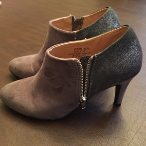 Two Tined Grey Report Ankle Boot w/ Side Zipper